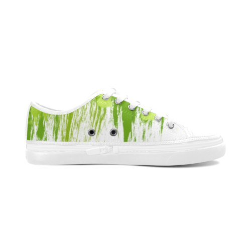 Spring Green Painting Design Women's Canvas Zipper Shoes (Model 001)