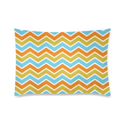 "Retro Orange and Blue Chevron Custom Zippered Pillow Case 20""x30""(Twin Sides)"
