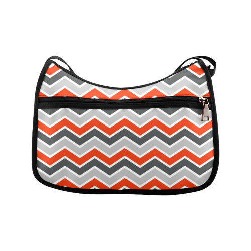 Gray and Red Chevron Crossbody Bags (Model 1616)