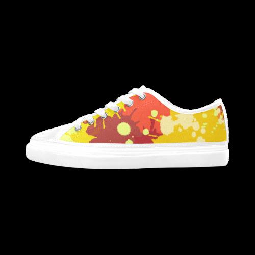 Summer Orange Yellow Splash Painting Women's Canvas Zipper Shoes (Model 001)