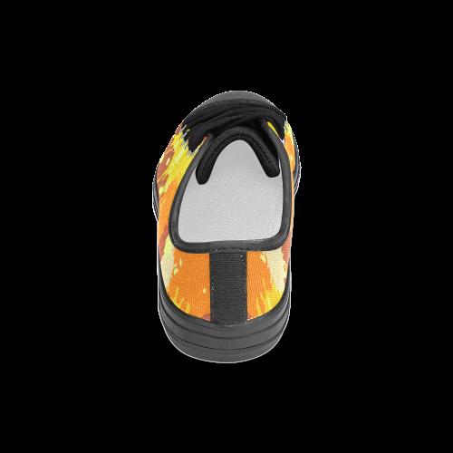 Summer Orange Yellow Splash Painting Women's Classic Canvas Shoes (Model 018)