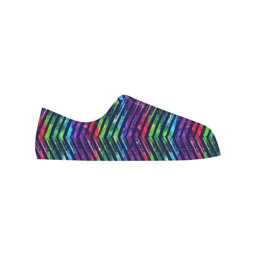Colorful Oblique Lines Aquila Microfiber Leather Men's Shoes (Model 028)
