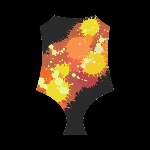 Summer Orange Yellow Splash Painting Strap Swimsuit ( Model S05)