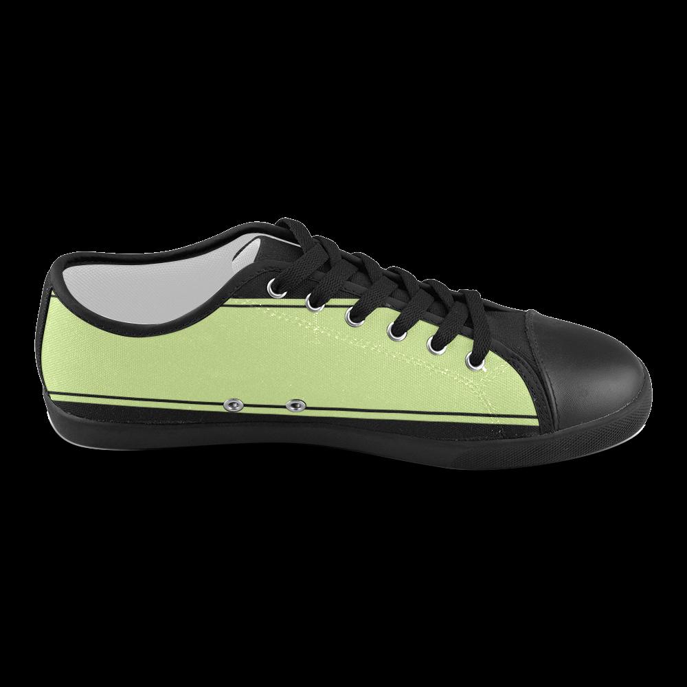 Spring Green Ribbon Design Women's Canvas Shoes (Model 016)