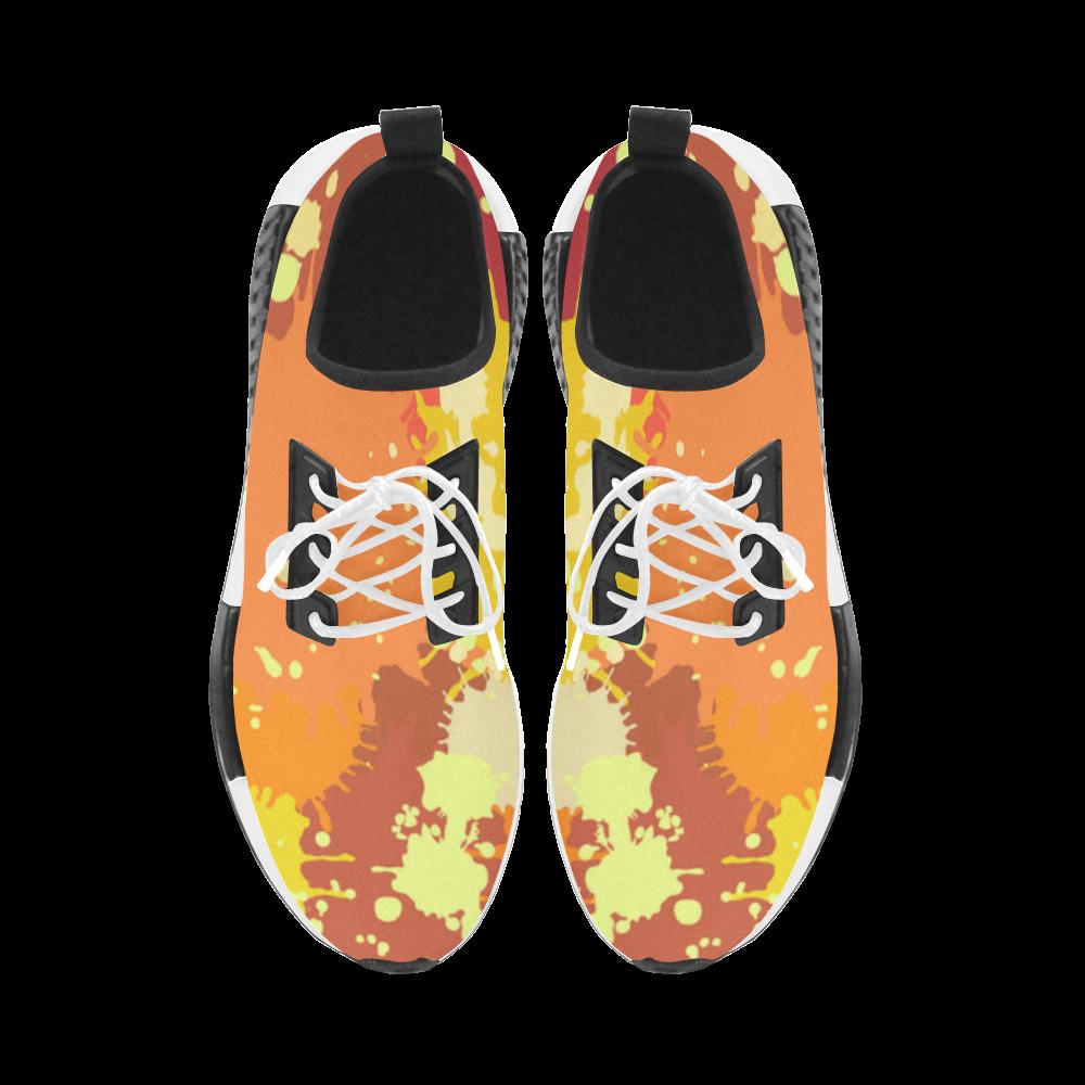 Summer Orange Yellow Splash Painting Women's Draco Running Shoes (Model 025)