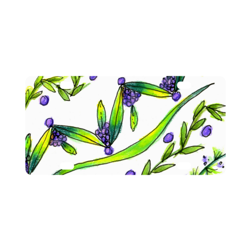 Dancing Greeen, Purple Vines, Grapes Zendoodle Classic License Plate