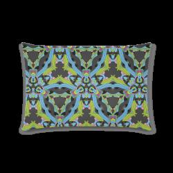 "Zandine 0202 blue green floral pattern Custom Rectangle Pillow Case 16""x24"" (one side)"