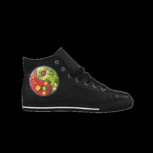 Yin Yang Vegan Fruits Vegetables Spirit Aquila High Top Microfiber Leather Women's Shoes (Model 027)