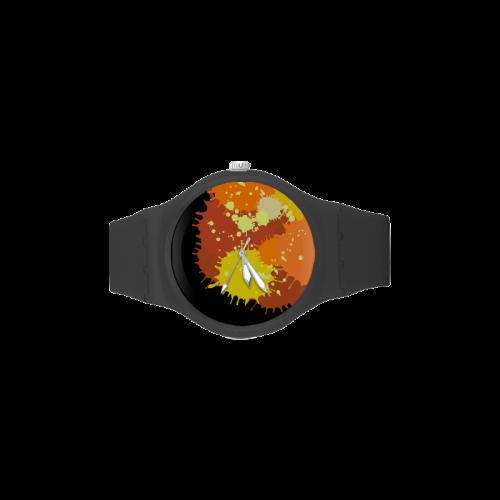 Summer Orange Yellow Splash Painting Unisex Round Rubber Sport Watch(Model 314)