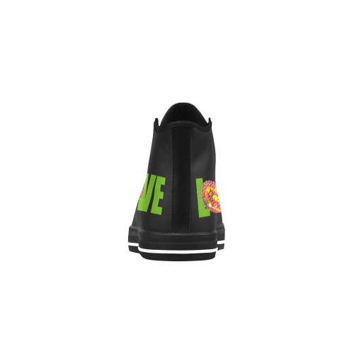 Love Vegan Think Green Fruits Vegetables Aquila High Top Microfiber Leather Women's Shoes (Model 027)