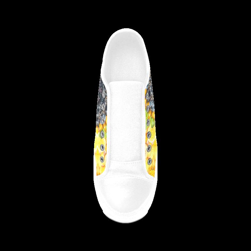 Colorful Mandala Fruits Vegetables Vegan Women's Canvas Zipper Shoes (Model 001)