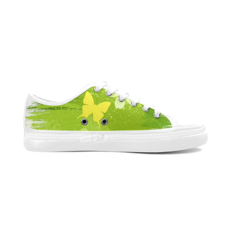 Green Jungle Vegan Butterfly Flowers Painting Women's Canvas Zipper Shoes (Model 001)