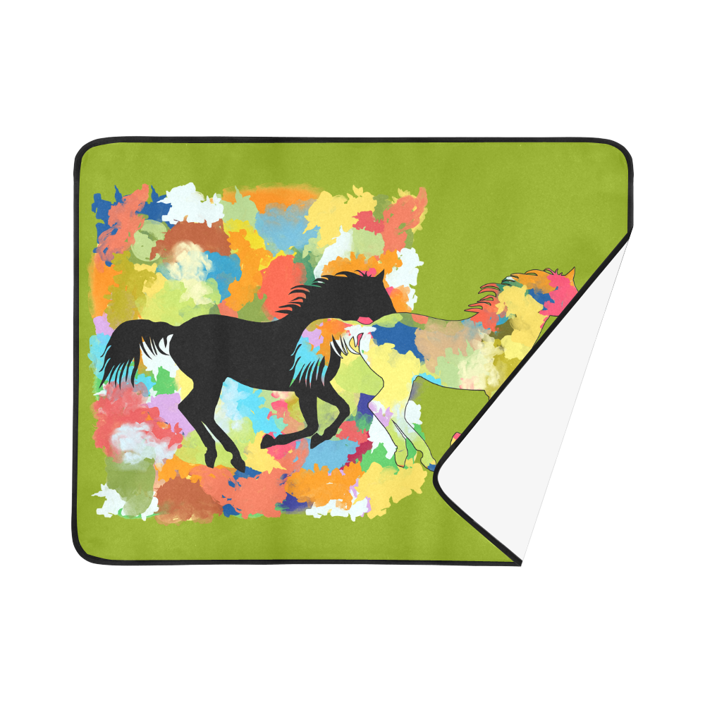 """Horse  Shape Galloping out of Colorful Splash Beach Mat 78""""x 60"""""""