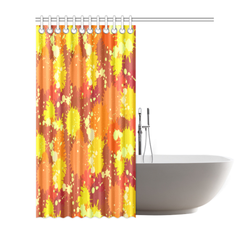 "Summer Orange Yellow Splash Painting Shower Curtain 72""x72"""