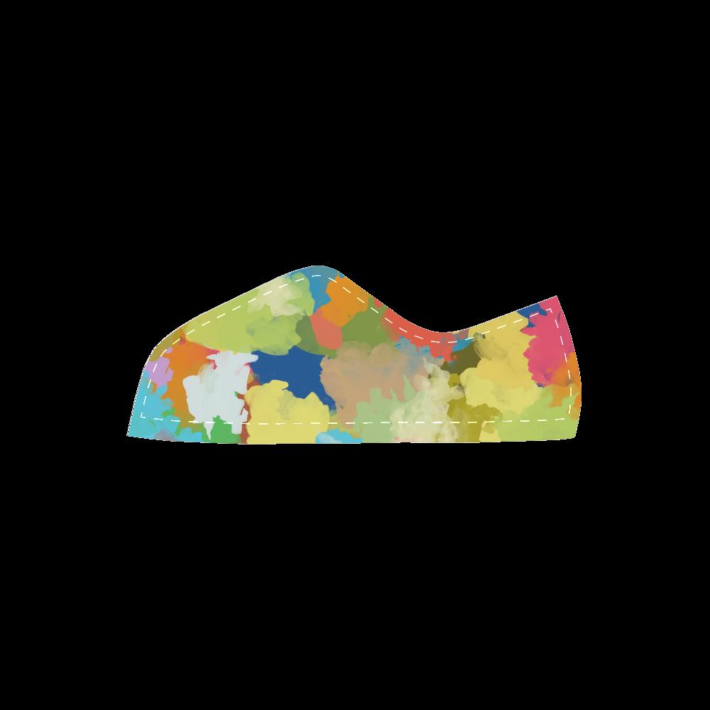 Summer Color Colorful Splash Design Velcro Canvas Kid's Shoes (Model 008)