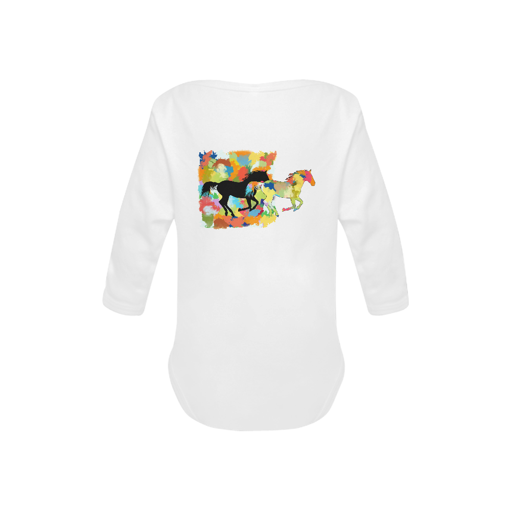 Horse  Shape Galloping out of Colorful Splash Baby Powder Organic Long Sleeve One Piece (Model T27)