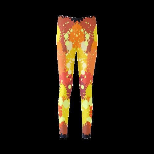 Summer Orange Yellow Splash Painting Cassandra Women's Leggings (Model L01)