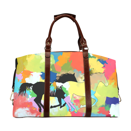 Horse Galloping out of Colorful Splash Classic Travel Bag (Model 1643)