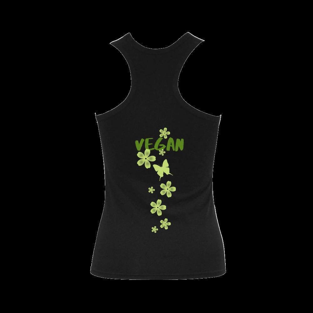 Vegan Butterfly Flowers Green Women's Shoulder-Free Tank Top (Model T35)