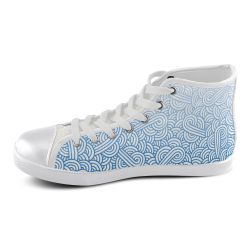 Gradient blue and white swirls doodles Men's High Top Canvas Shoes (Model 002)