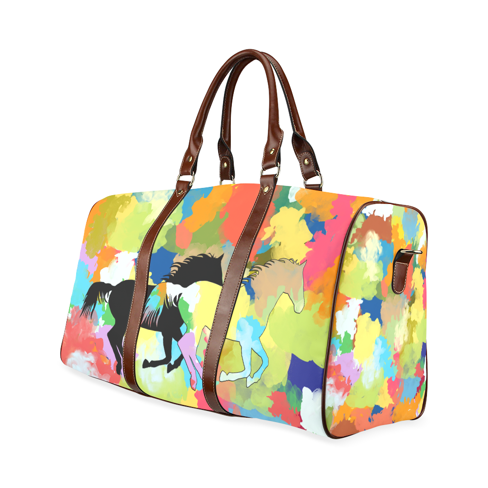 Horse Galloping out of Colorful Splash Waterproof Travel Bag/Small (Model 1639)