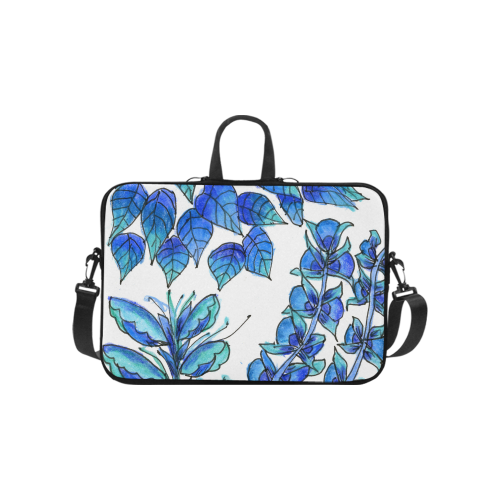 Pretty Blue Flowers, Aqua Garden Zendoodle Laptop Handbags 10""
