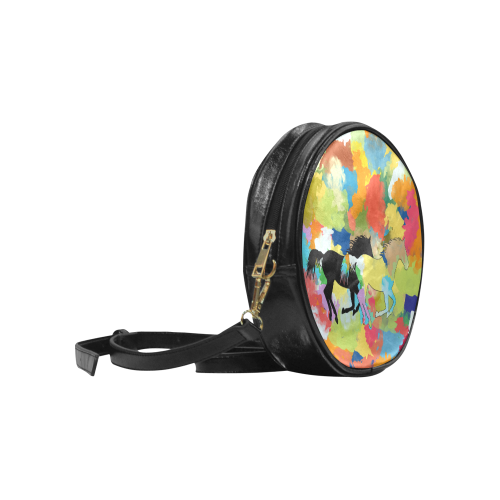 Horse Galloping out of Colorful Splash Round Sling Bag (Model 1647)