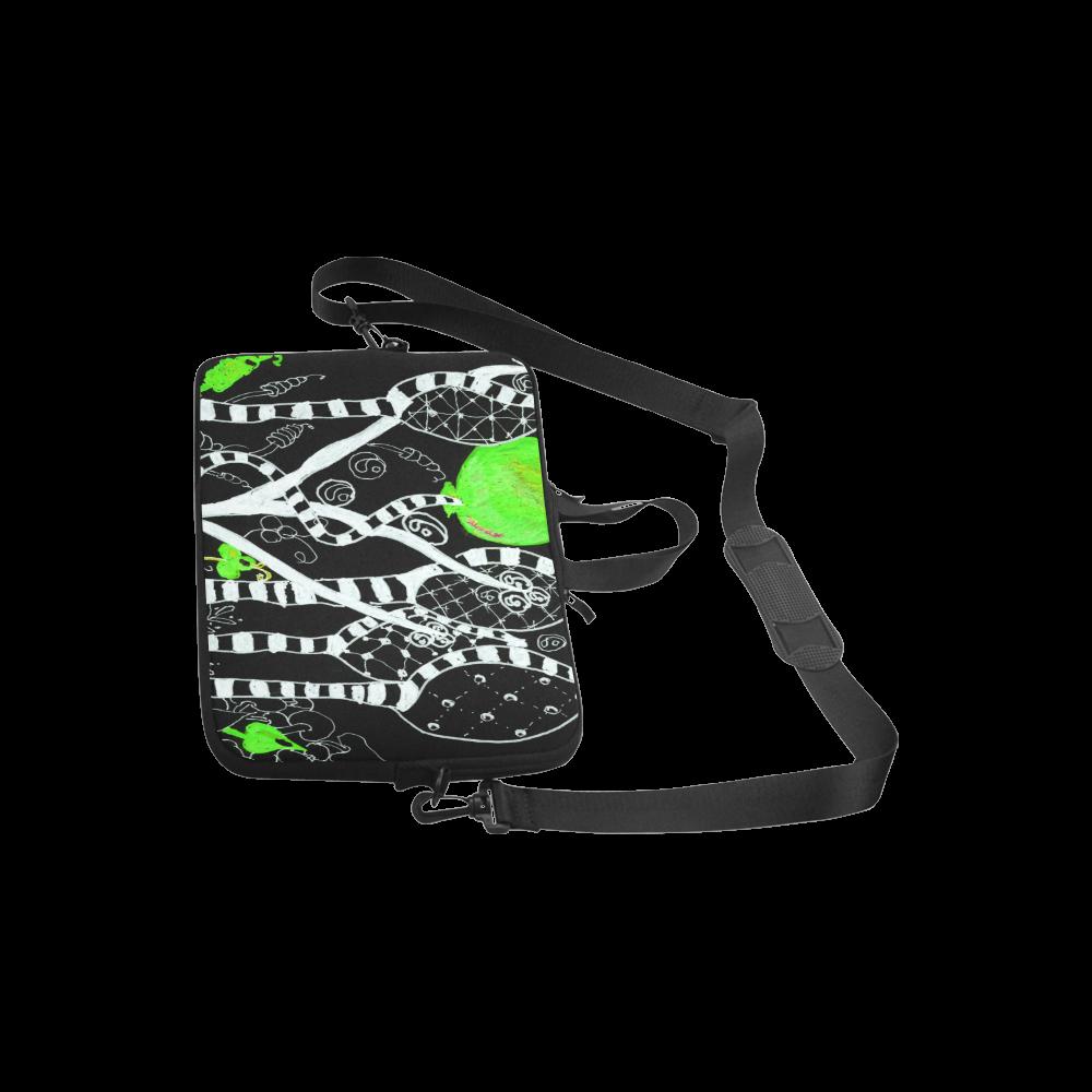 """Green Balloon Zendoodle in Night Forest Garden Laptop Handbags 10"""""""