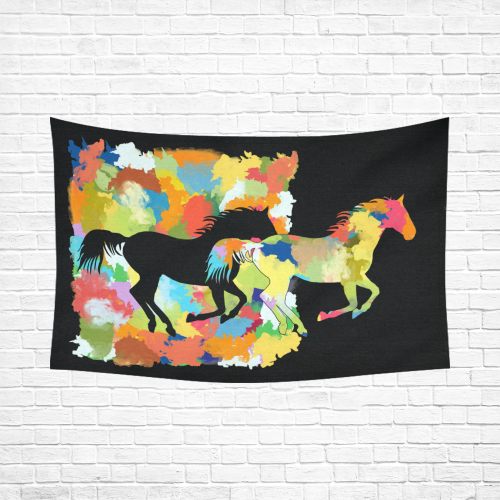 "Horse  Shape Galloping out of Colorful Splash Cotton Linen Wall Tapestry 90""x 60"""