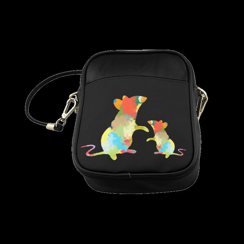 Mouse Shape Colorful Splash Design Sling Bag (Model 1627)