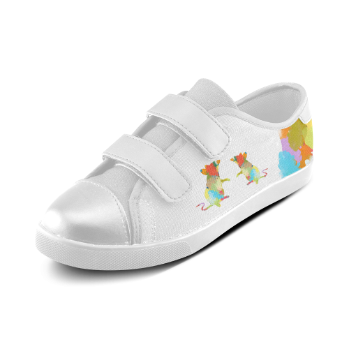 Mouse Shape Colorful Splash Design Velcro Canvas Kid's Shoes (Model 008)
