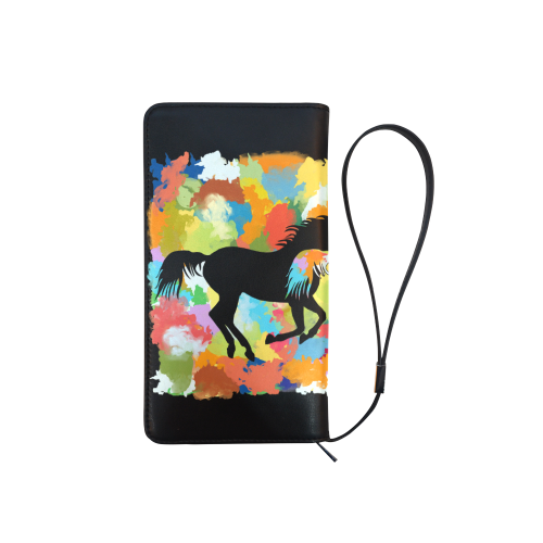 Horse  Shape Galloping out of Colorful Splash Men's Clutch Purse (Model 1638)