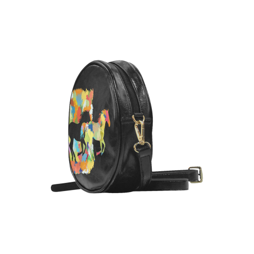 Horse  Shape Galloping out of Colorful Splash Round Sling Bag (Model 1647)