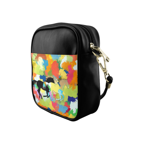Horse Galloping out of Colorful Splash Sling Bag (Model 1627)