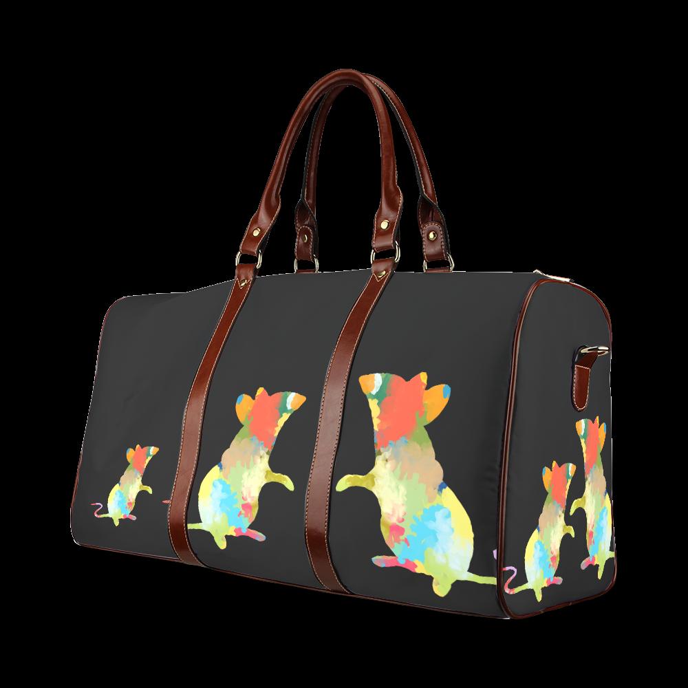 Mouse Shape Colorful Splash Design Waterproof Travel Bag/Small (Model 1639)