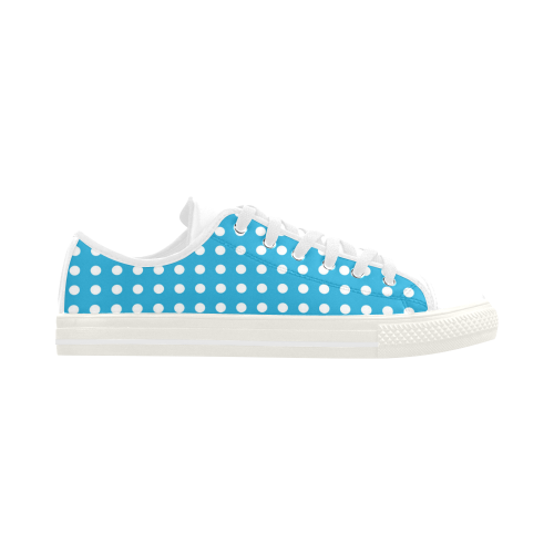 Solid Cyan With White Dots Aquila Microfiber Leather Women's Shoes (Model 028)