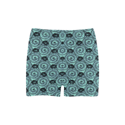 Shells and Flowers Teal Briseis Skinny Shorts (Model L04)
