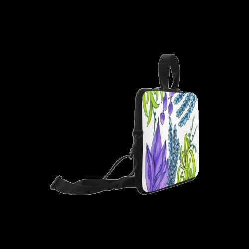 """Purple Green Blue Flower Garden, Dancing Zendoodle Laptop Handbags 10"""""""