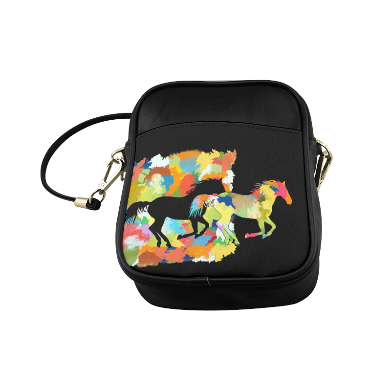 Horse  Shape Galloping out of Colorful Splash Sling Bag (Model 1627)