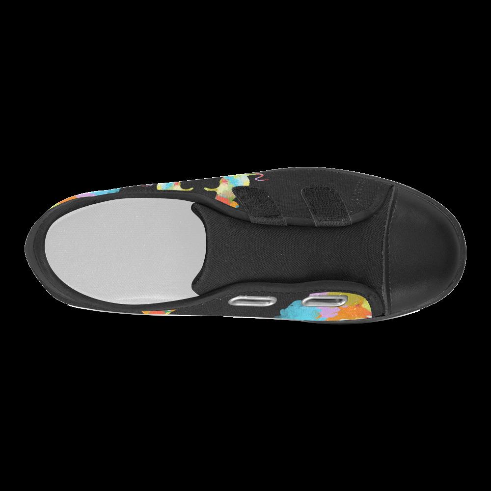 Mouse Shape Colorful Splash Design Velcro Canvas Kid's Shoes (Model 008)