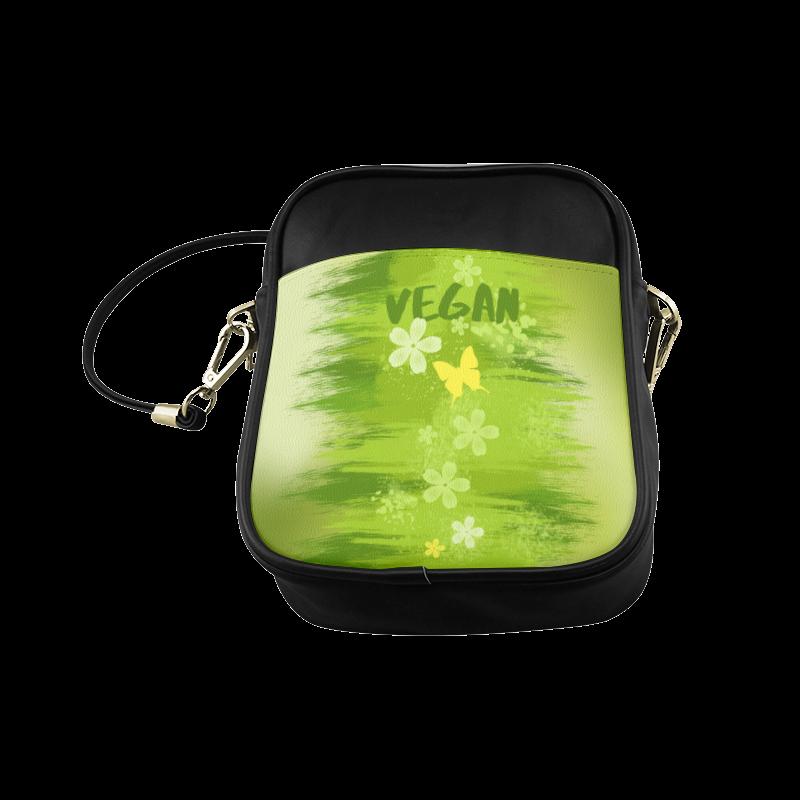 Green Jungle Vegan Butterfly Flowers Painting Sling Bag (Model 1627)