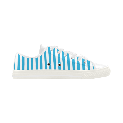 Solid Cyan With White Stripes Aquila Microfiber Leather Women's Shoes (Model 028)