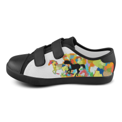 Horse  Shape Galloping out of Colorful Splash Velcro Canvas Kid's Shoes (Model 008)