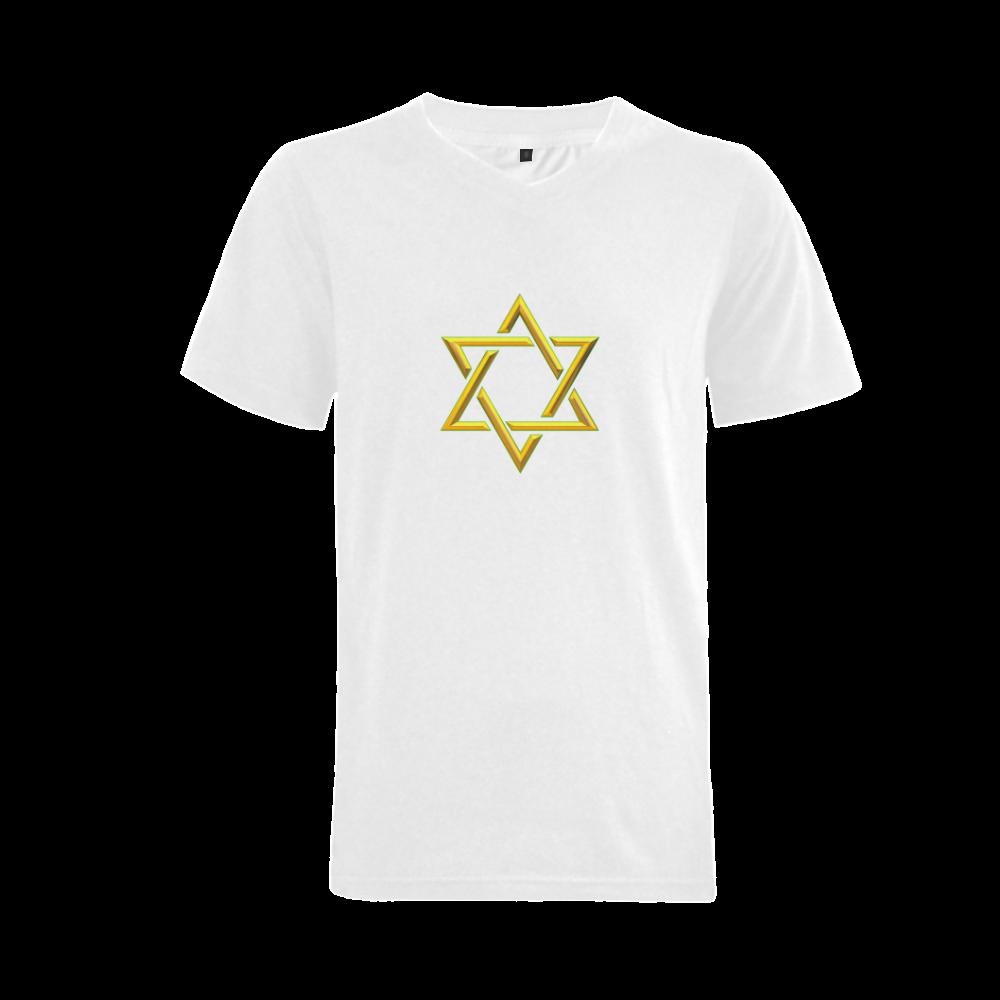 Judaism Symbols Golden Jewish Star of David Men's V-Neck T-shirt (USA Size) (Model T10)