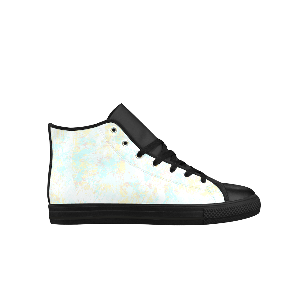 Bright Blue Yellow Grunge Design Aquila High Top Microfiber Leather Women's Shoes (Model 027)