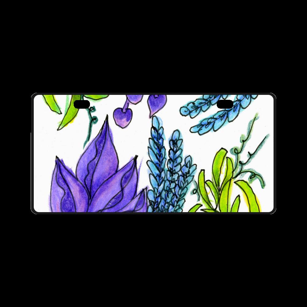 Purple Green Blue Flower Garden, Dancing Zendoodle License Plate