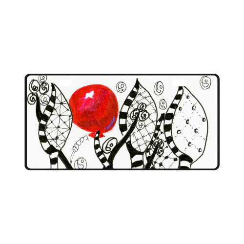 Red Balloon Zendoodle in Fanciful Forest Garden License Plate