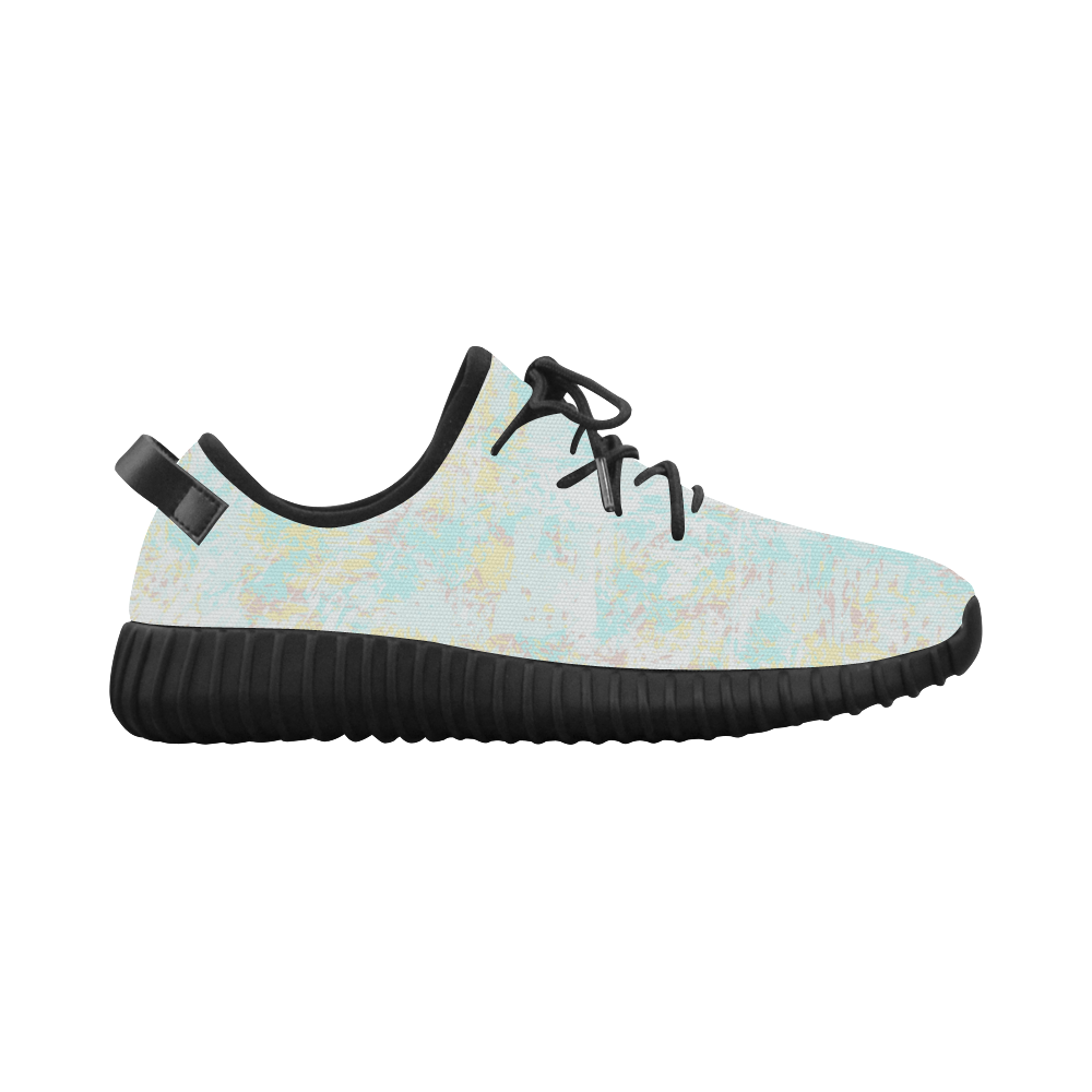 Bright Blue Yellow Grunge Design Grus Women's Breathable Woven Running Shoes (Model 022)