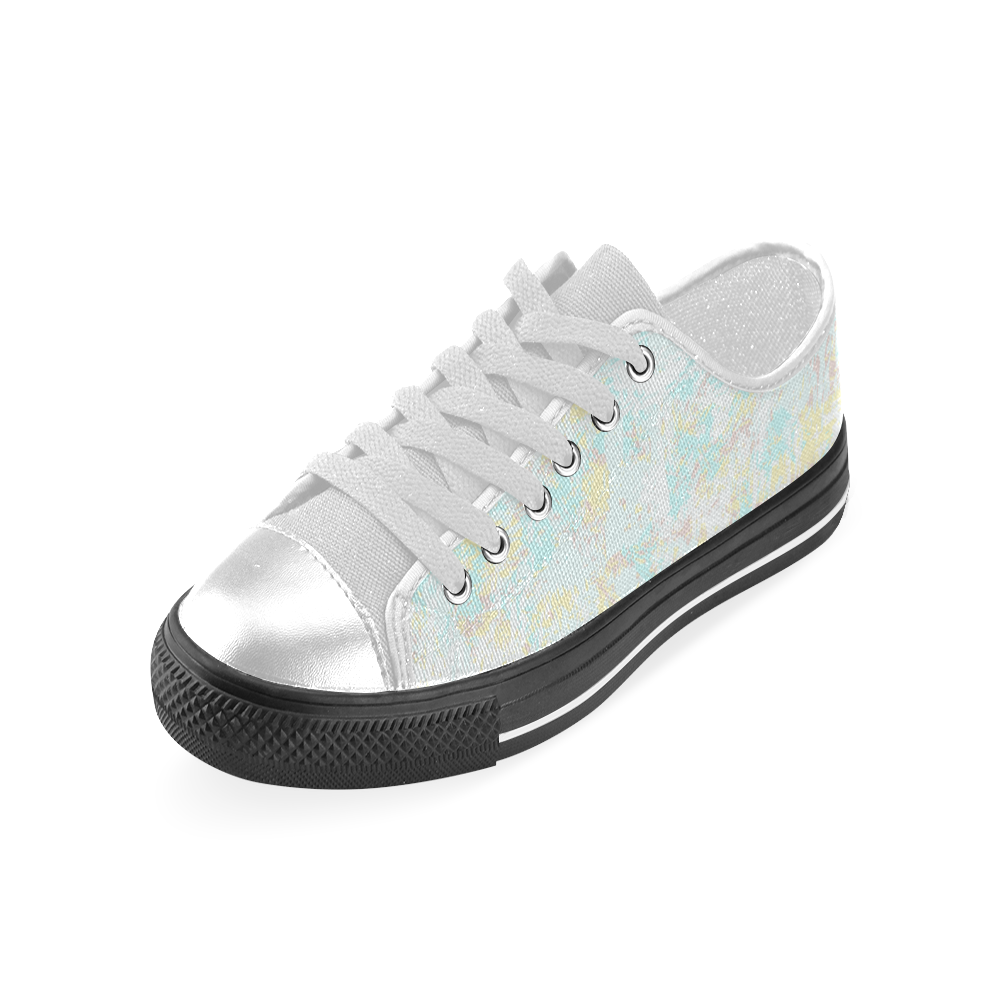 Bright Blue Yellow Grunge Design Women's Classic Canvas Shoes (Model 018)