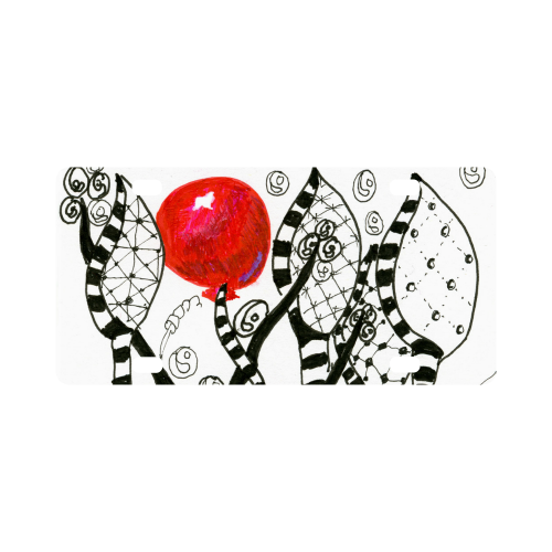 Red Balloon Zendoodle in Fanciful Forest Garden Classic License Plate